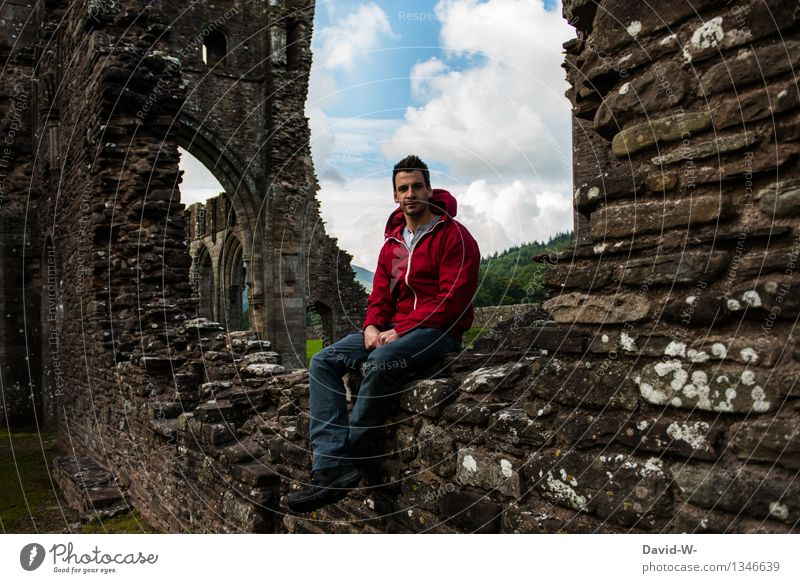 castle ruin Well-being Contentment Relaxation Calm Vacation & Travel Tourism Trip Adventure Far-off places Expedition Hiking Human being Masculine Man Adults