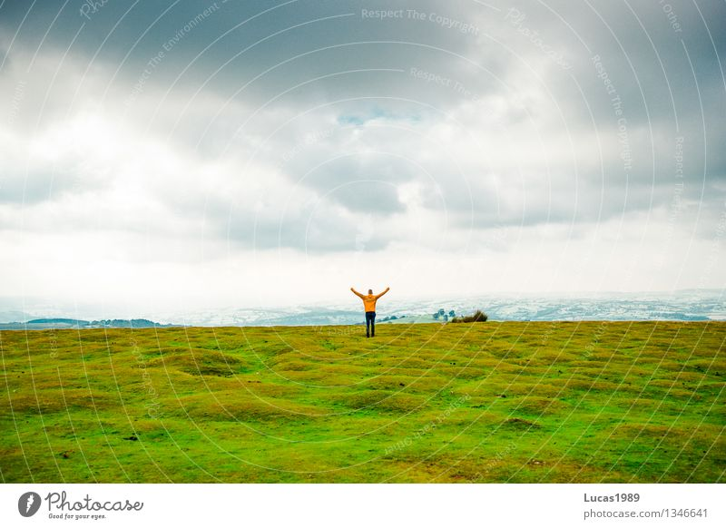 Human being Sky Nature Vacation & Travel Youth (Young adults) Man Young man Landscape Joy Adults Environment Emotions Meadow Grass Happy Masculine
