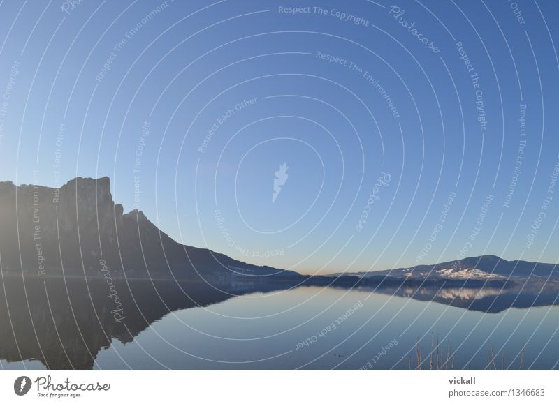 Sky Water Relaxation Landscape Winter Mountain Lake Beautiful weather To go for a walk Cloudless sky Fishing (Angle)