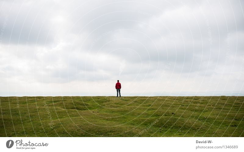 Human being Nature Vacation & Travel Man Relaxation Loneliness Landscape Calm Far-off places Adults Life Autumn Meadow Healthy Freedom Masculine