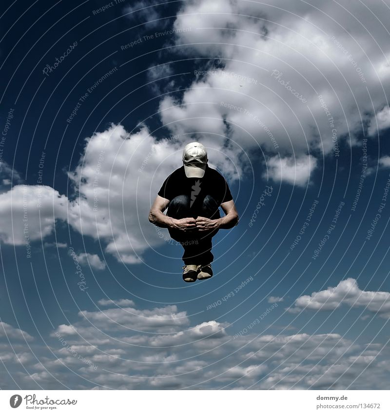 Sky Man Hand Blue Summer Clouds Jump Legs Small Arm Flying Fingers Aviation Jeans Middle Point