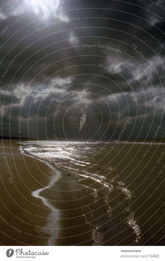 Like lightning Ocean Reflection Coast Dazzle Back-light Sky Water Contrast Denmark North Sea