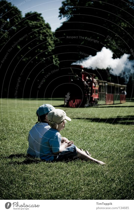idyll Child Engines Steamlocomotive Park Railroad Playing Looking Expectation Summer Family & Relations Vacation & Travel Summer's day Relaxation Toys Karlsruhe