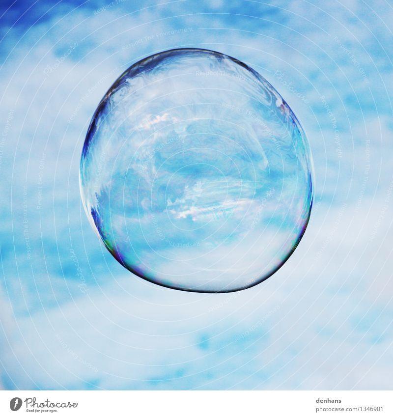 Blue Water Calm Clouds Playing Flying Glittering Glass Joie de vivre (Vitality) Fluid Meditation Sphere Ease Kindergarten Street art Soap bubble