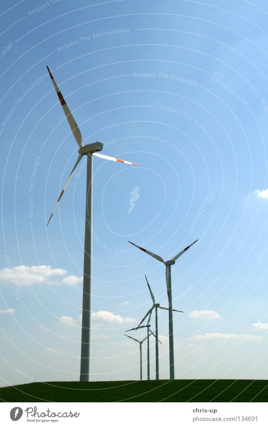Sky Blue Field Wind Weather Tall Industry Energy industry Electricity New Level Wing Clean Wind energy plant Ecological Engines