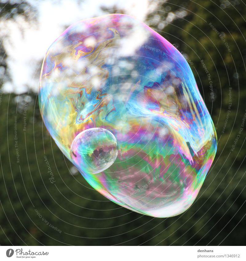 Soap bubble in soap bubble Joy Calm Meditation Playing Kindergarten Art Artist Street art Water Touch Movement Flying Fantastic Beautiful Multicoloured