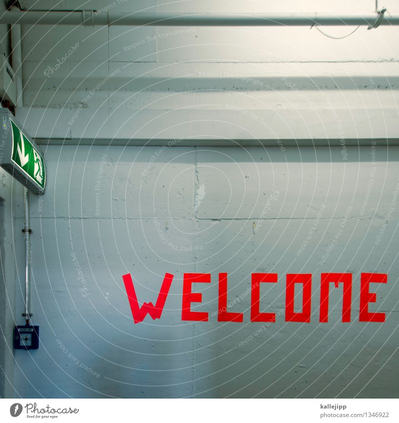 refugees welcome Sign Characters Signs and labeling Arrow Orange Welcome Refugee Flee Escape Emergency exit Alarm fire alarm Wall (building) Wall (barrier)