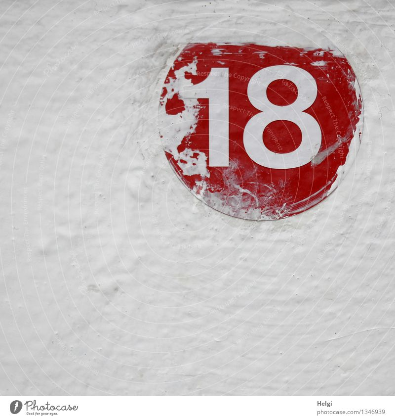 18 Wall (barrier) Wall (building) Metal Digits and numbers Authentic Simple Uniqueness Red White Colour Creativity Colour photo Multicoloured Exterior shot