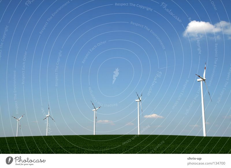 Sky Blue Clouds Field Wind Weather Tall Industry Energy industry Electricity New Level Wing Clean Wind energy plant Ecological