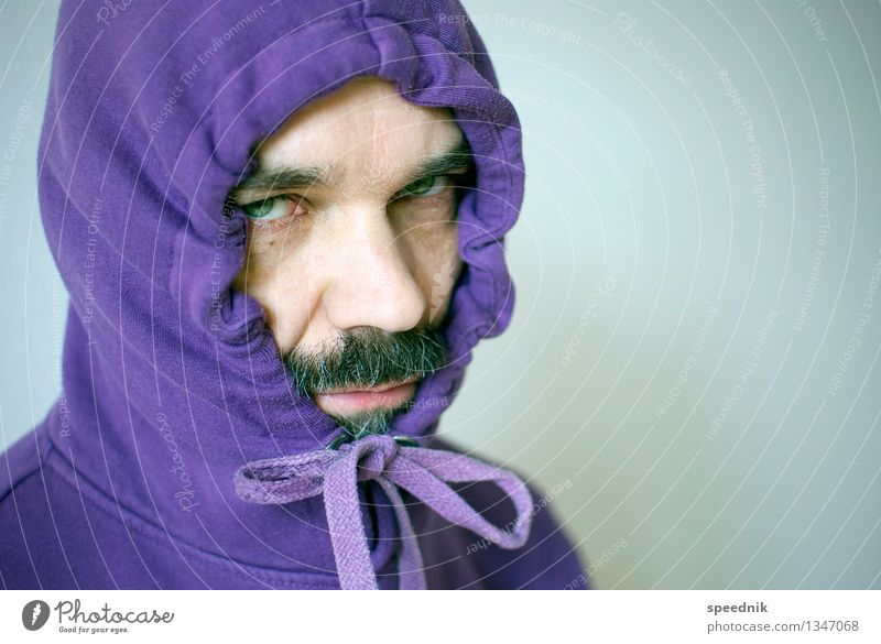 Human being Man Loneliness Cold Adults Senior citizen Moody Bright Masculine 45 - 60 years Observe Protection Violet Illness Facial hair Hip & trendy