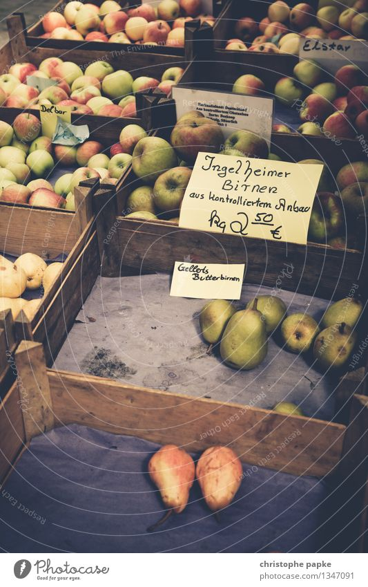 apple with pear comparison Food Fruit Apple Nutrition Organic produce Vegetarian diet Healthy Eating Trade Fresh Markets Market stall Market day Pear Crate