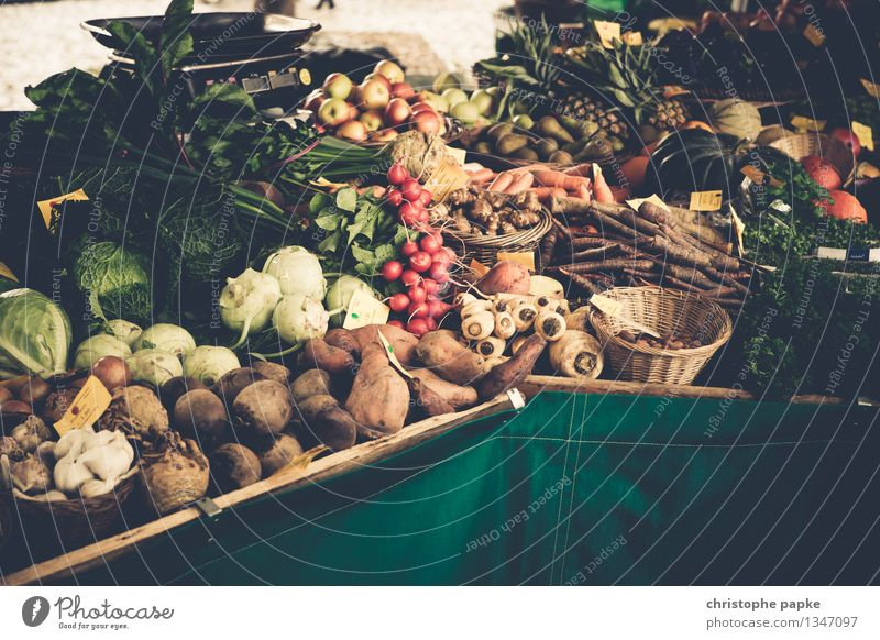 Vegetables on market stall Food Lettuce Organic produce Farmer's market Salad Nutrition fresh vegetables Shopping Agriculture Forestry deal Fresh Healthy