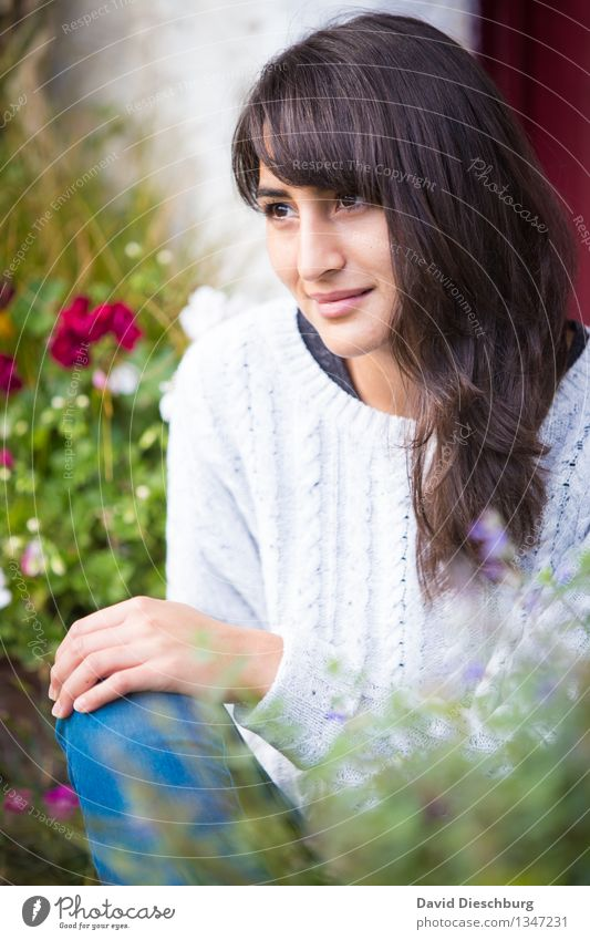 contented Feminine Young woman Youth (Young adults) Head Face 1 Human being 18 - 30 years Adults Spring Summer Autumn Beautiful weather Plant Flower Garden Park