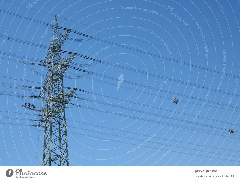 Far-off places Tall Industry Electricity Dangerous Level Threat Electricity pylon Transmission lines Airy