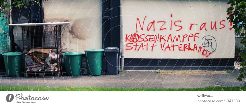 waste separation Facade Characters Graffiti Politics and state Protest Fascist Disperse Protective Swastika Wall (building) class-struggle Patriotism Fatherland