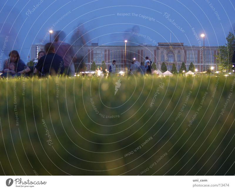 ghosts Park Human being Grass Meadow Lantern Long exposure Group Sit European Business School Berlin