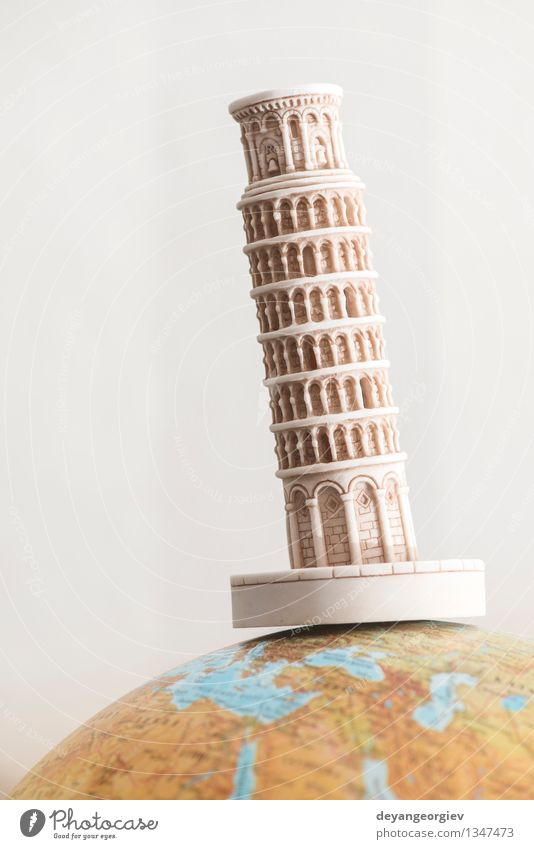 Pisa Tower on globe. Vacation & Travel Tourism Earth Architecture Monument Airplane Sphere Globe Old Around Symbols and metaphors holiday Europe landmark