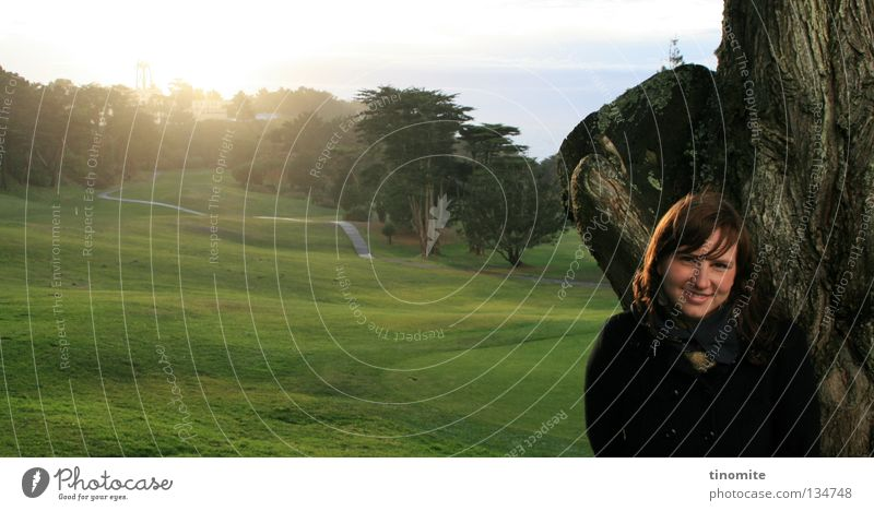 fortunate Golf course Beautiful Green Grass Woman Tree San Francisco California Americas Forest Spring Winter January Joy Happy sone Lawn Nature sunlight USA