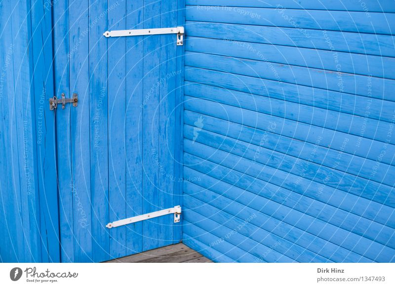 blue corner Vacation & Travel Hut Manmade structures Building Architecture Wall (barrier) Wall (building) Facade Terrace Door Wood Line Blue Denmark Scandinavia