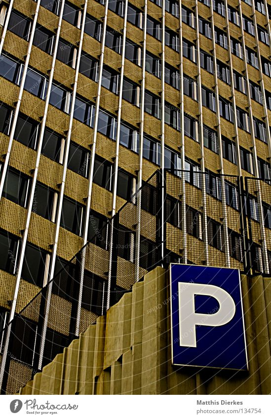 multi-storey car park Parking Parking garage Parking lot Signage High-rise Facade Concrete Concreted Barcelona Spain Foundations Multistory Story Window Glazing
