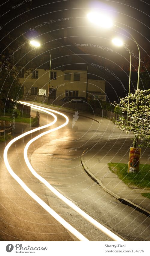Car at night Night Light Street lighting Village road Visual spectacle Traffic infrastructure Floodlight