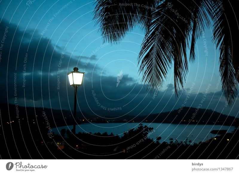 Vacation & Travel Blue Ocean Landscape Clouds Mountain Lamp Illuminate Idyll Esthetic Tall Bay Lantern Exotic Summer vacation Dusk