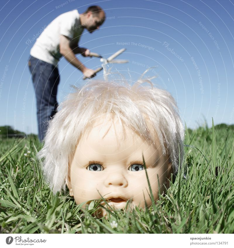 haircut Toys Threat Alarming Blonde Chucky Creepy Horror film Evil Sweet Cute Whimsical Meadow Grass Green Man Gardener Hedge shears Joy Doll Eyes Blue Fear