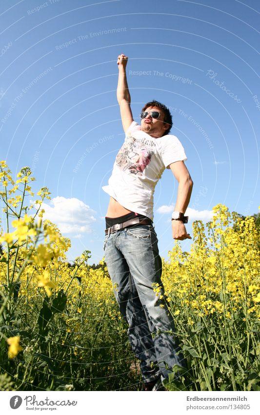 Sky Man Blue Summer Flower Joy Meadow Jump Seasons Sunglasses Hero Great Superman Cooking oil Oilseed rape oil