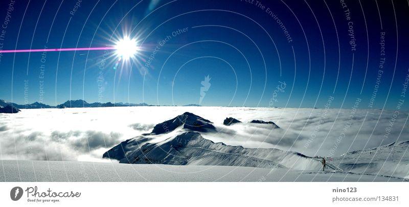 Sun Clouds Snow Mountain Ice Peak France Glacier