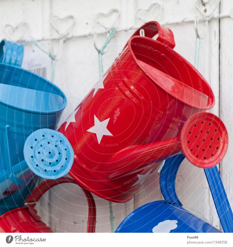 watering cans Decoration Collection Watering can Wood Metal Hang Authentic Glittering Retro Trashy Blue Red White Spring fever Enthusiasm Creativity Culture Art