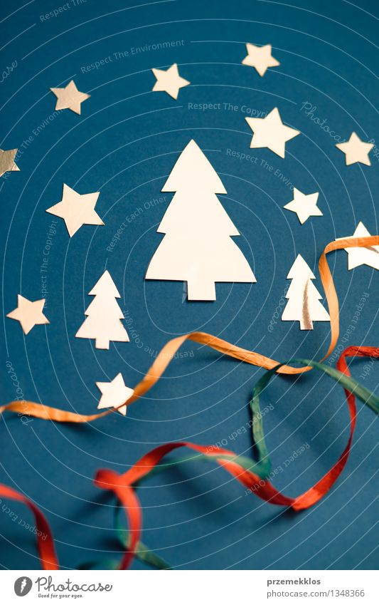 Christmas card Winter Band Tree Paper String Glittering Blue Creativity Card Object photography Symbols and metaphors Colour photo Interior shot Close-up Detail