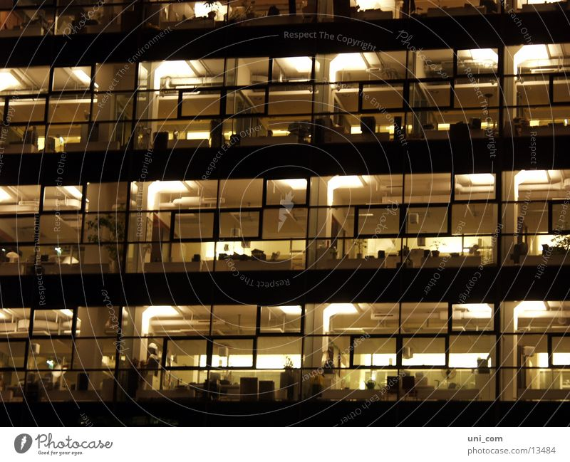 night shift Glas facade Window Office building Work and employment Light Lamp Night Architecture Room Business