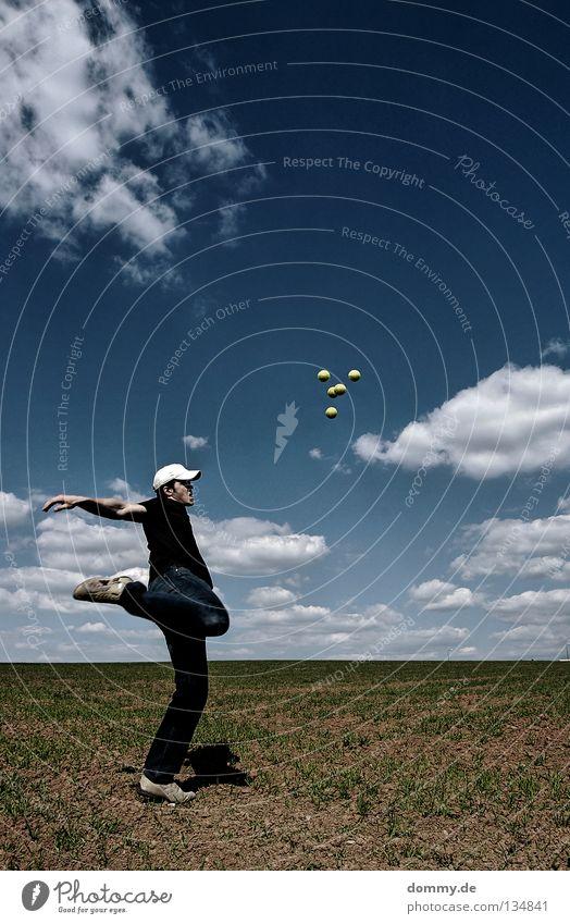 Sky Man Blue Green Summer Joy Clouds Far-off places Playing Warmth Legs Bright Footwear Field Power Earth