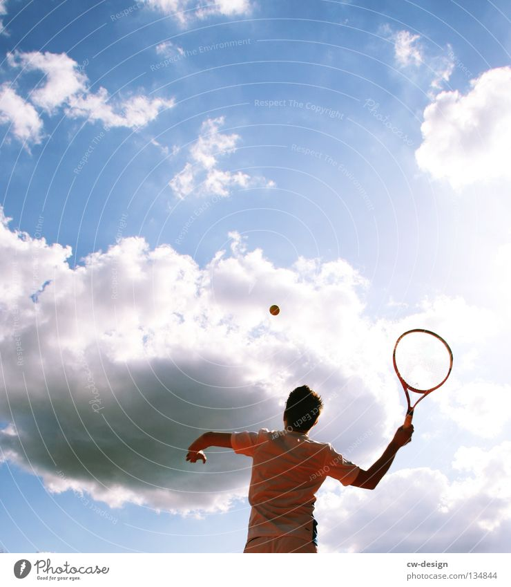 WHOLE BIG TENNIS Colour photo Exterior shot Copy Space top Day Sunlight Worm's-eye view Upper body Leisure and hobbies Playing Sports Fitness Sports Training