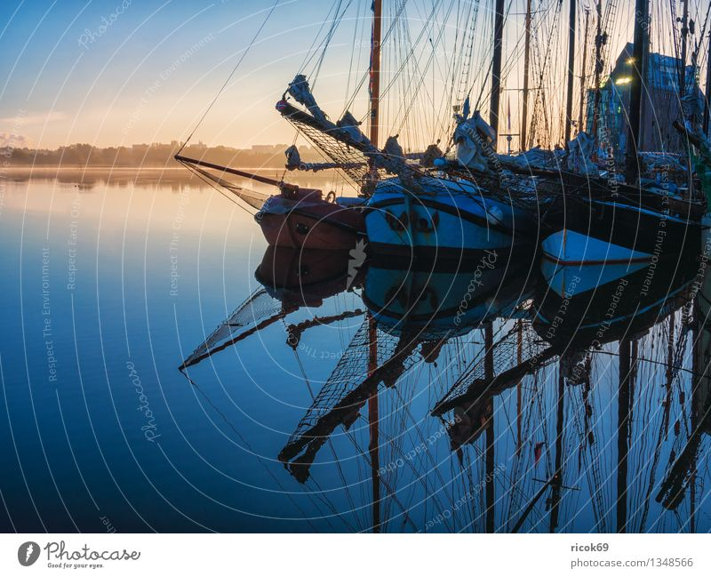 Vacation & Travel Blue Water Clouds Watercraft Tourism Idyll Romance Logistics Harbour Tradition Jetty Sailing Mecklenburg-Western Pomerania Maritime Sailing ship