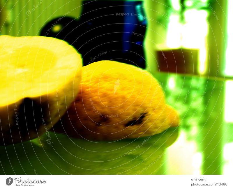 acidified Lemon Citrus fruits Half Yellow Glass table Green undertone Healthy Anger