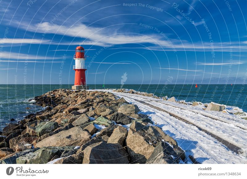 jetty Ocean Winter Nature Landscape Water Clouds Coast Baltic Sea Tower Lighthouse Architecture Tourist Attraction Landmark Stone Cold Blue Red White Tourism