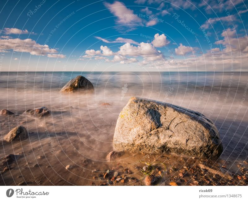 Baltic coast Vacation & Travel Beach Ocean Nature Landscape Water Clouds Rock Coast Baltic Sea Stone Blue Romance Idyll Calm Tourism Stone block