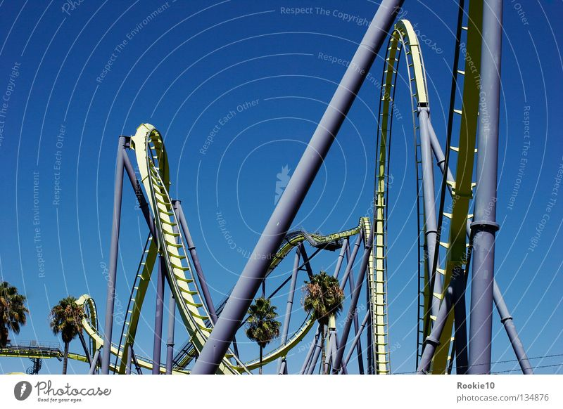Just do it Roller coaster Amusement Park Unavoidable Lust Kick Captured Events Exterior shot Speed Large Conquer Brave Summer Summery Comfortless Giddy