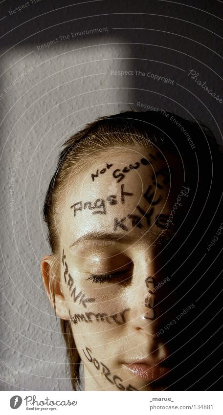 Woman Face Black Eyes Wall (building) Dream Head Sadness Mouth Line Fear Nose Future Illness Painting (action, work) Force