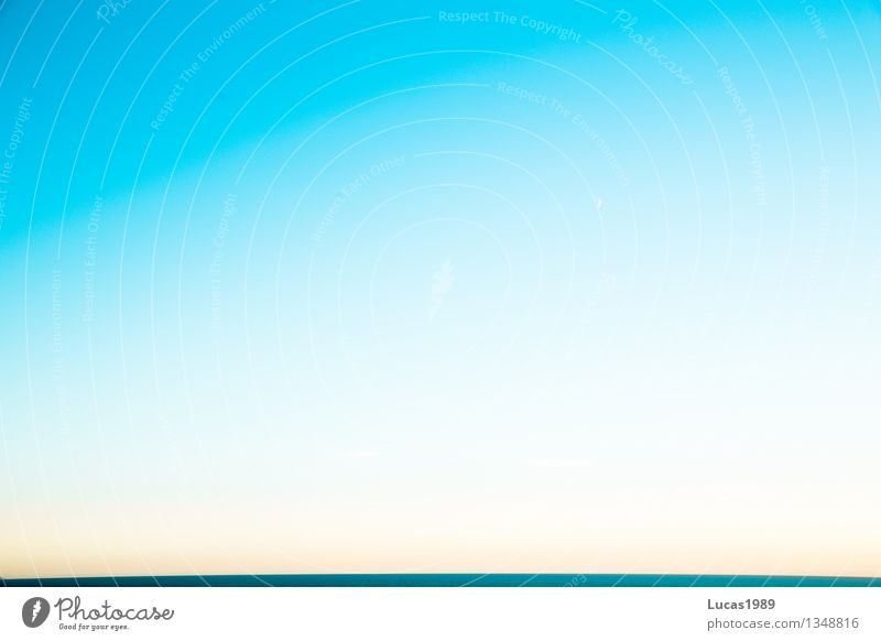 A piece of horizon Elements Air Water Sky Sky only Cloudless sky Horizon Summer Climate Weather Beautiful weather Ocean Lake Maritime Blue White Relaxation