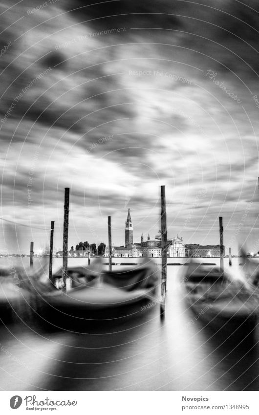 Expedition In Venezia XXI Water Clouds Town Architecture Means of transport Watercraft Black White Tradition Venice Monolithic Scops Owl St. Marks Square