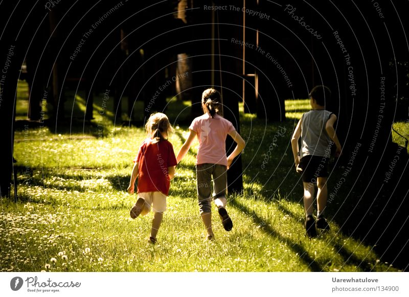 hand in hand into a never ending sumer day Child Escape Going Movement Together Hand Hold hands Light Summer Braids Happiness Safety (feeling of) Innocent