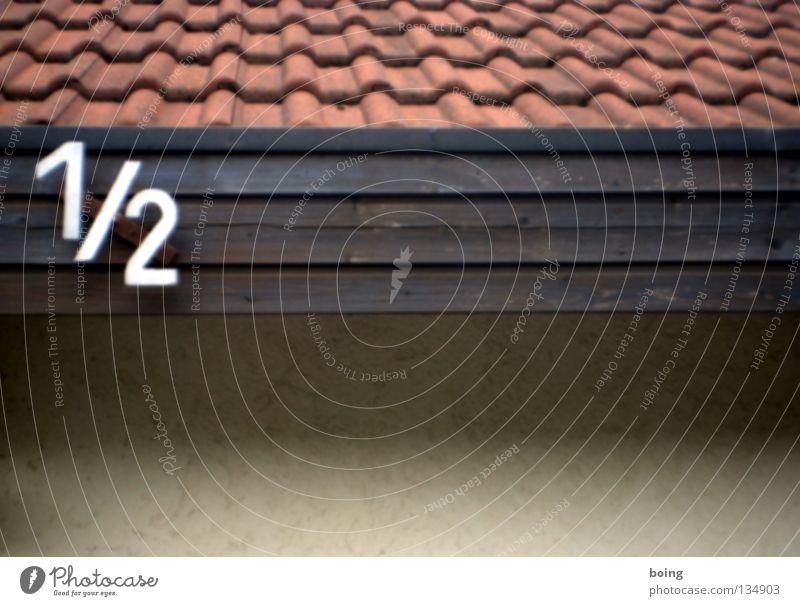 Street Roof Digits and numbers Brick Broken Traffic infrastructure Divide Half Mathematics Roofing tile Detached house Divorce Meter House number