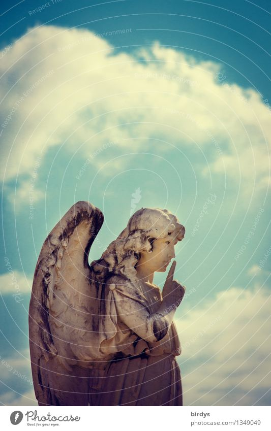 Pssst..... Feminine Art Sculpture Sky Clouds Angel Esthetic Retro Might Popular belief Relationship Expectation Belief Religion and faith Communicate Moral