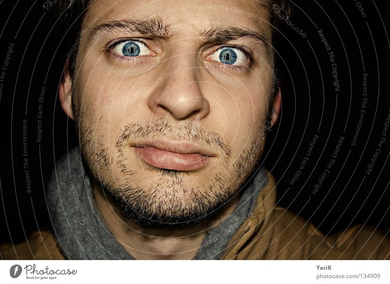 skepticism Looking Pupil Chin Forehead Scarf Facial hair Skeptical Insecure Surprise Interesting Black Dark Exposure Flash Caught by a speed camera Brown