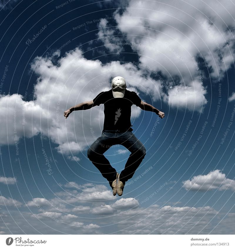 Sky Man Blue Hand Summer Clouds Playing Jump Legs Arm Flying Fingers Aviation Electricity Jeans Concentrate