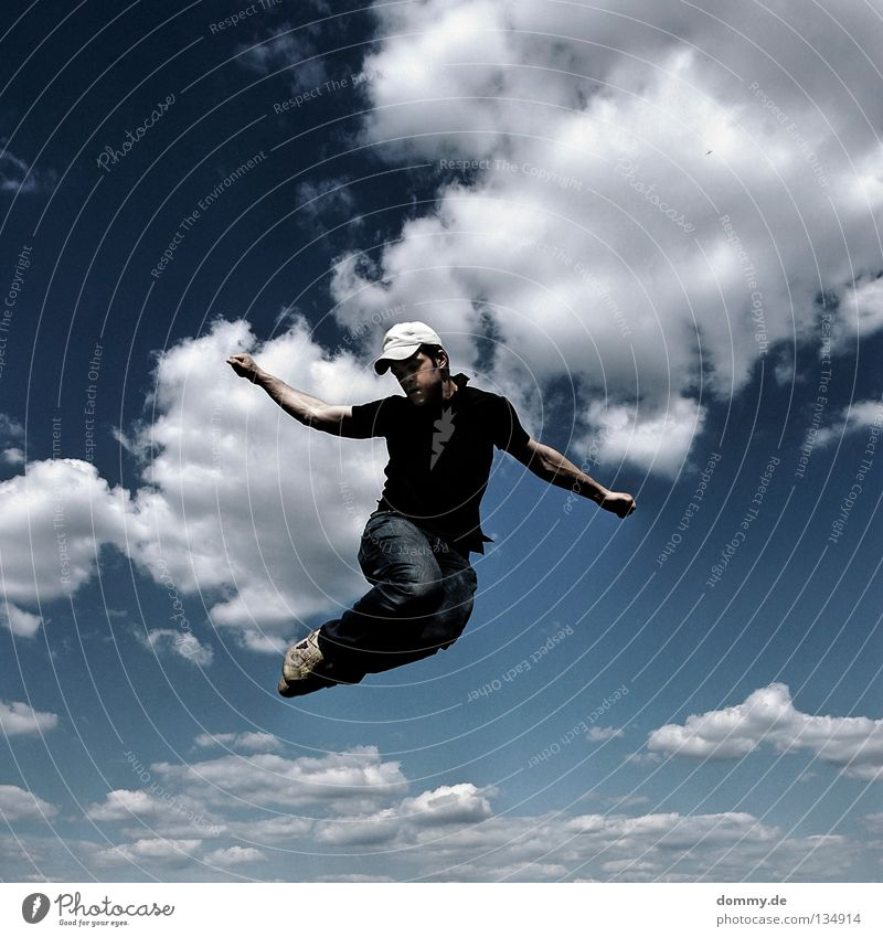 Sky Man Blue Hand Summer Joy Clouds Playing Jump Legs Arm Flying Fingers Aviation Electricity Jeans