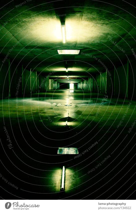 Green Loneliness Street Lamp Dark Dream Moody Room Lighting Fear Planning Wet Concrete Time Modern Film industry