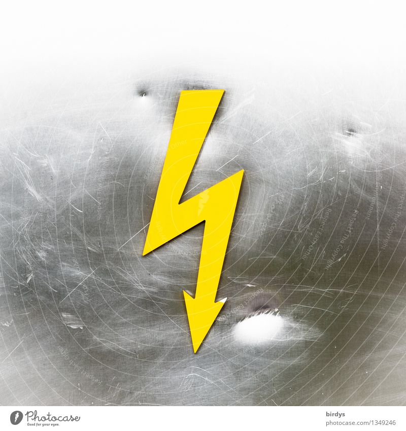 high voltage Energy industry Sign Signs and labeling Signage Warning sign Lightning bolt Danger High Voltage Aggression Esthetic Sharp-edged Point Yellow Gray